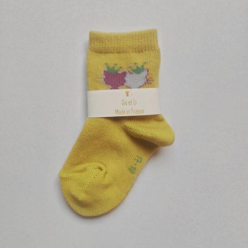 Chaussettes bébé gold chatons gris et roses
